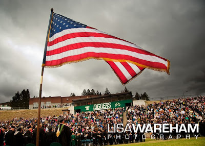 Montana tech, flag, graduation, butte, montana