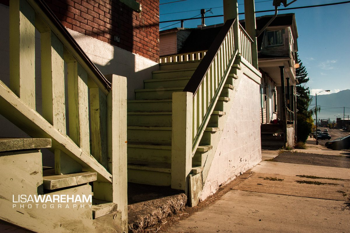 "These stairs are next to the ""old teddy bear"" house (next building down). The socks and pants were hanging camera left."